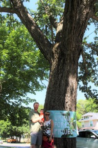 Nominator Jesse Lincoln stands next to Charlie, the Chinquapin Oak, with Mayor Bliss