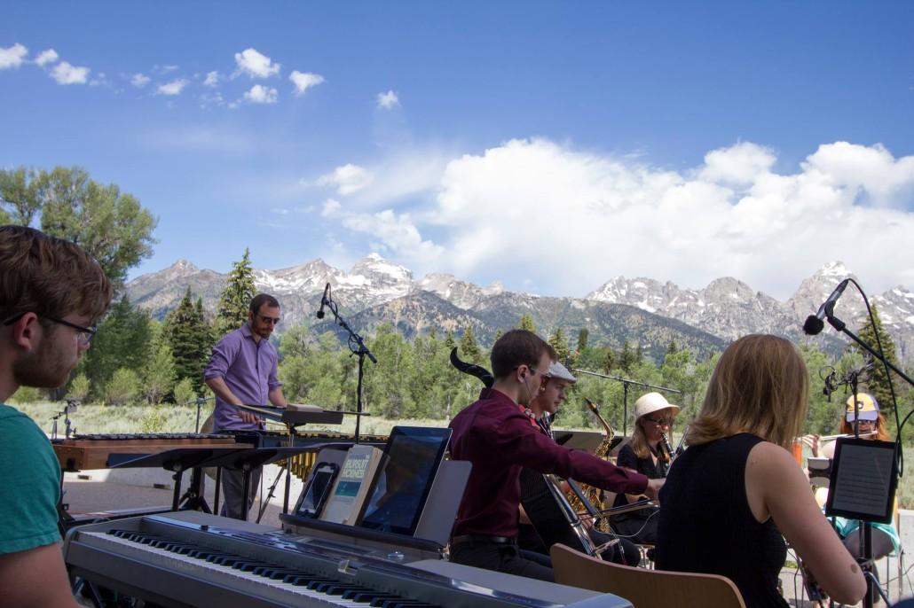 The Grand Valley State University New Music Ensemble performs in Grand Teton National Park Photo Credit:  John Jansen