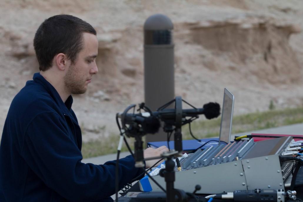 GVSU sound engineer Niko Schroeder prepares recorded sounds for playback in Badlands National Park  Photo Credit:  John Jansen
